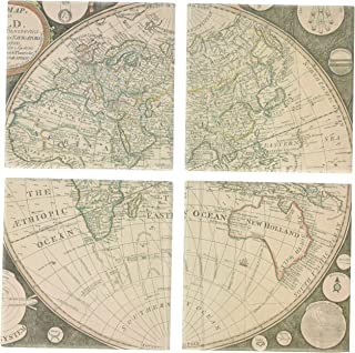 Vintage Map Ceramic Coaster - Absorbent Coaster For Wine Glasses, Drinks and Beverages - House Warming Gift - Coaster Set Of 4 (Vintage Map)