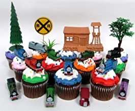 THOMAS THE TRAIN 12 Piece Birthday Cupcake Topper Set Featuring Thomas, Percy, James, Friends and Decorative Themed Accessories