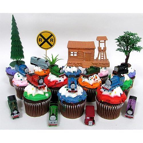 THOMAS THE TRAIN 12 Piece Birthday Cupcake Topper Set Featuring Thomas Percy James