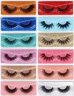 3D Lashes False Eyelashes 12 Pairs Fluffy Volume Faux Mink Lashes Pack Natural 12 Styles Mixed 15-20MM Long Fake Eyelashes...