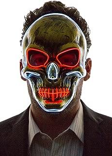 Neon Nightlife Light Up Scary Skeleton Skull Death Halloween LED Grim Reaper Costume Mask
