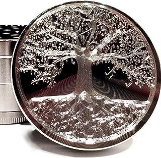 Tree of Life Etched Titanium Grinder - 4 Piece with Pollen Catcher Original Art 2.5
