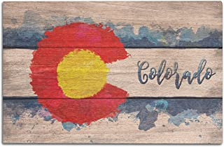 Lantern Press Colorado State Flag - Watercolor - Rustic (10x15 Wood Wall Sign, Wall Decor Ready to Hang)