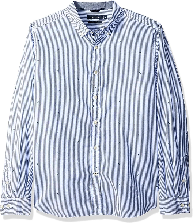 Nautica Men's Long Sleeve Print Button Down Shirt