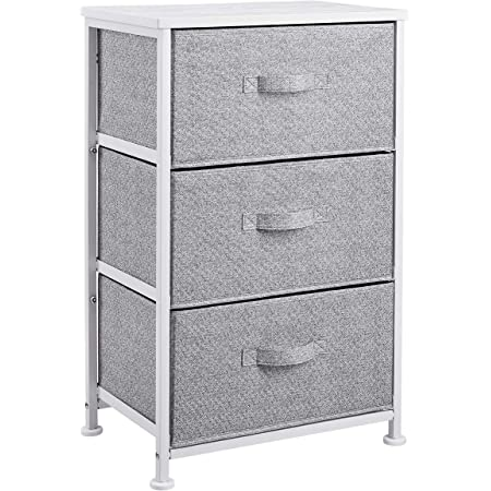 Amazon Basics Commode pour armoire - 3 tiroirs en tissu - blanc