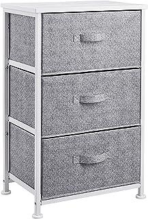 AmazonBasics Commode pour armoire - 3 tiroirs en tissu - blanc