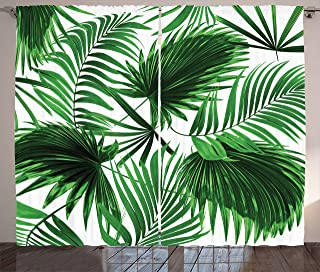 Ambesonne Palm Leaf Curtains, Realistic Vivid Leaves of Palm Tree Growth Ecology Lush Botany Themed Print, Living Room Bedroom Window Drapes 2 Panel Set, 108
