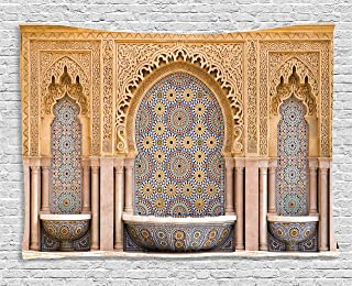 Ambesonne Moroccan Tapestry, Typical Moroccan Tiled Fountain in The City of Rabat Near Hassan Tower, Wide Wall Hanging for Bedroom Living Room Dorm, 60