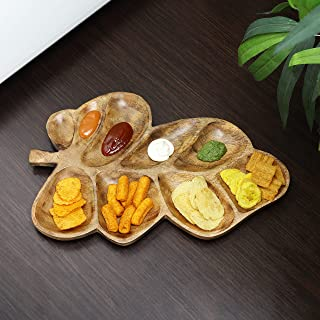 Aheli Wooden Handcrafted Leaf Design Cheese Sauce Chip Dips Platter Starter Dessert Serving Tray Kitchen Dining Serve Ware Accessories