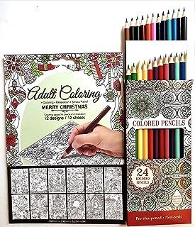 هدایای تمام روز کتاب رنگ آمیزی بزرگسالان کریسمس با 24 مداد رنگی ست هدیه -12 صفحه تسکین دهنده استرس