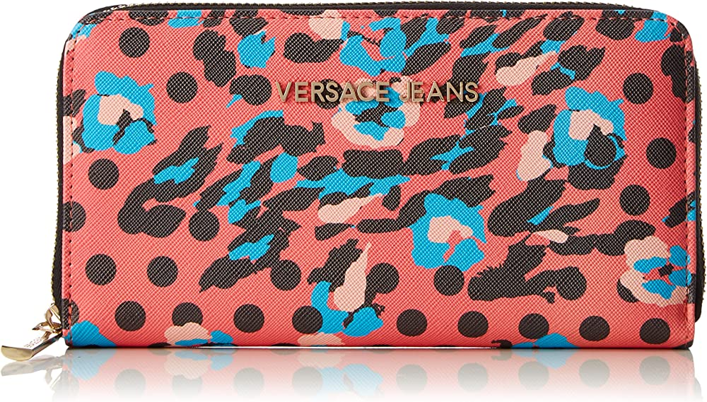 Versace jeans, portafoglio, porta carte di credito da donna, in pelle sintetica, multicolore EE3VRBPS1 E70039