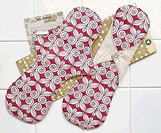 夜用2枚セット 南インド「Eco Femme」布ナプキン 洗えるオーガニックコットン(肌面無漂白)防水あり・内側に7層のフランネル使用 GOTS認定品