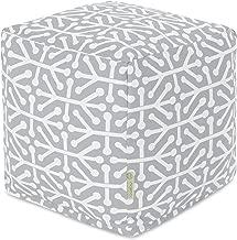 Majestic Home Goods Gray Aruba Indoor/Outdoor Bean Bag Ottoman Pouf Cube 17