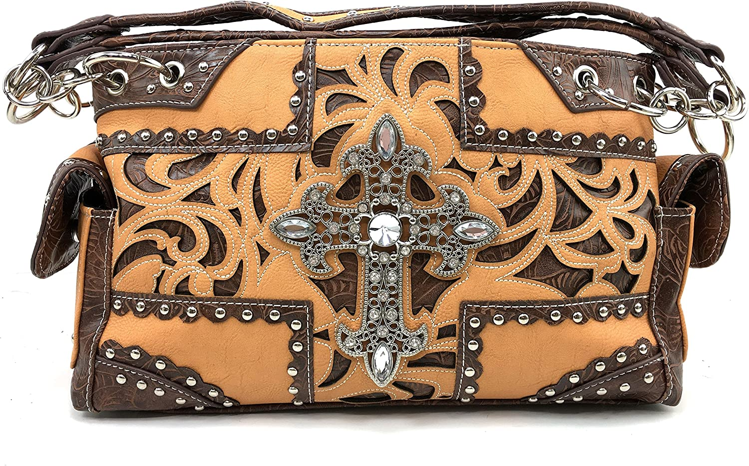 Justin West Tooled Western Leather Bombing outlet free shipping Laser Sh Cut Cross Rhinestone