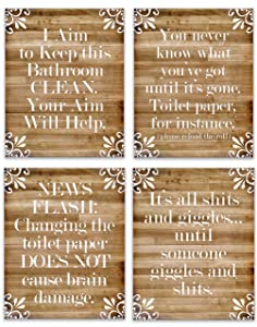 Rustic Farmhouse Bathroom Decor for the Wall - Funny Country Home Sign - Modern Farm House Bath Picture - Cabin Restroom Accent - Bathroom Art - Quote Wall Decor - 8x10 UNFRAMED (Funny Farmhouse 4)