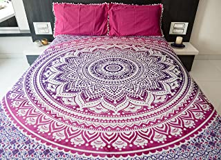 Bohemian Mandala Tapestry Hippie Wall Hanging, Indian Ombre Mandala Bedding Bedspread Set With Pillow Covers for Bedroom, ...