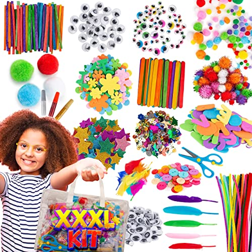Blue Squid Arts and Crafts Supplies Kit XXXL Craft Set for Kids - 1500+ Pcs Art Supply with Easy Storage Case - Toddl...