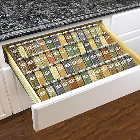"""Lynk Professional Adjustable Expandable 4 Tier Steel Spice Rack Tray Drawer Organizer, 13-1/4"""" to 26-1/2"""", Silver Metallic"""