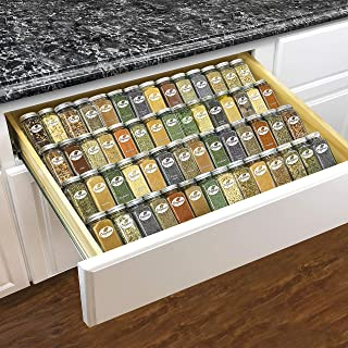 Lynk Professional 4304142PK Adjustable Expandable 4 Tier Steel Spice Rack Tray Drawer Organizer, Insert, Silver Metallic