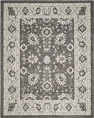 Tapis rectangulaire d'intérieur traditionnel tissé , collection Carmel, CAR277, en gris foncé / beige, 122 X 183 cm pour le salon, la chambre ou tout autre espace intérieur par SAFAVIEH.