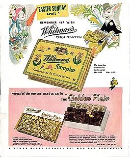 1953 Whitman's Sampler Boxed Chocolates-$2 Lb- Original 13.5 * 10.5 Magazine Ad