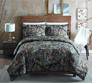 MISC Camo Hunting Comforter King Set Brown Green Realtree Bedding Camouflage Pattern Branches Lodge Forest Rustic Cabin Outdoors Print Cottage Trees Leaves Fall, Cotton 3 Piece