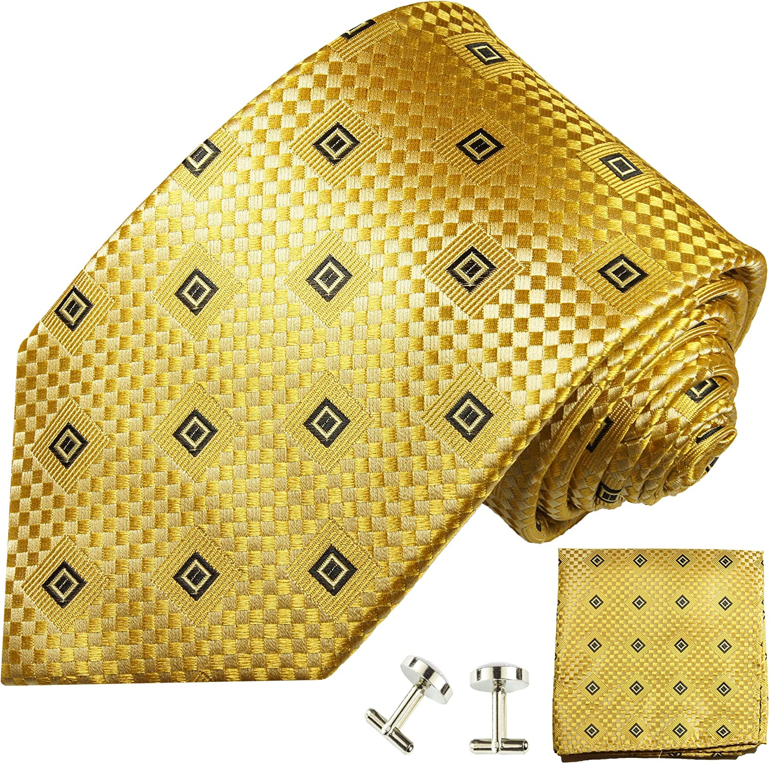 Gold Patterned Silk Tie with Pocket Square and Cufflinks