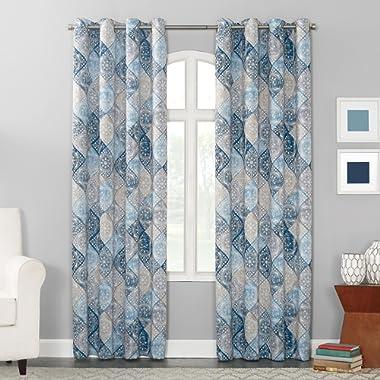 Sun Zero Reardon Distressed Global Tile Print Grommet Curtain Panel, 54  x 63 , Navy Blue