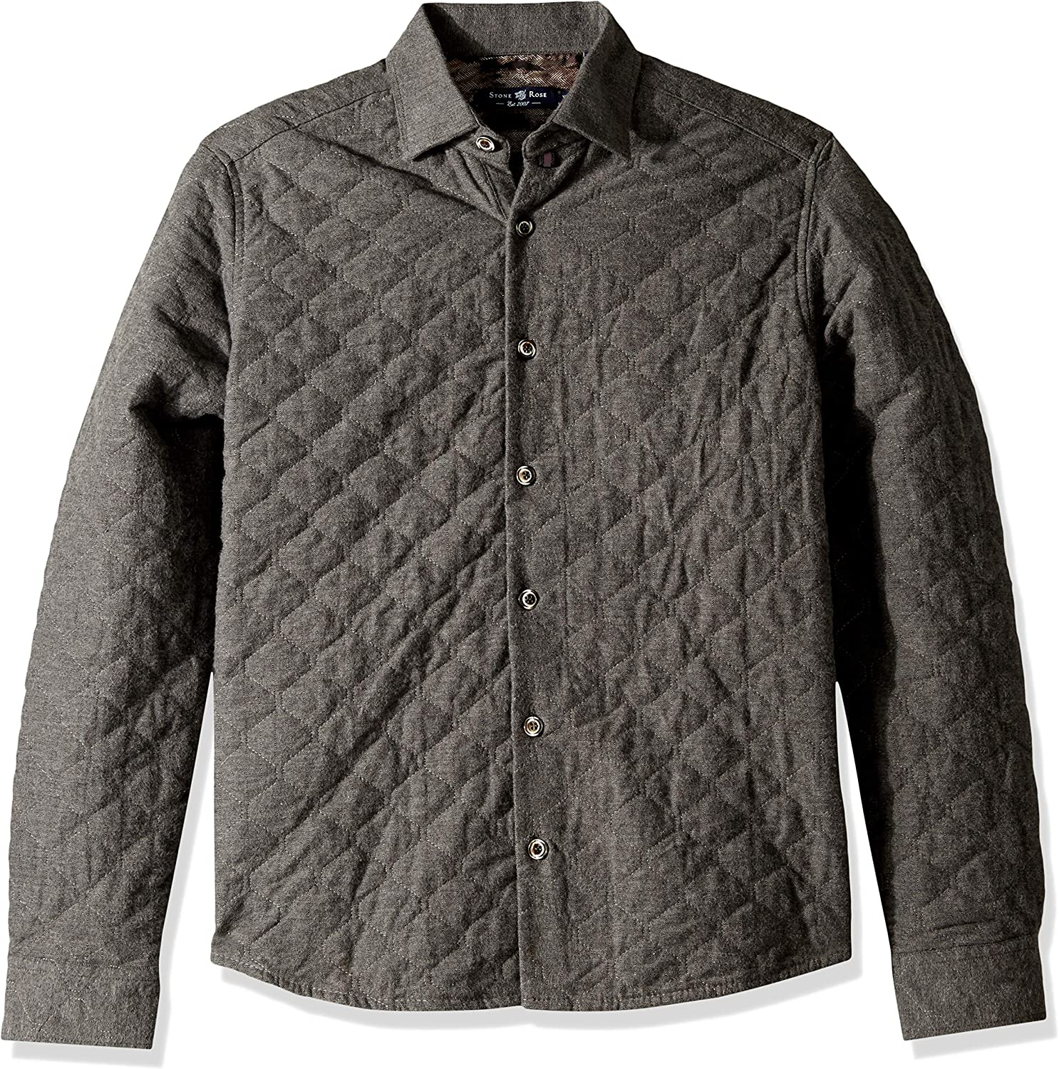 Stone pink Mens Men's Long Sleeve Quilted ShirtJacket Shirt
