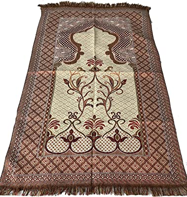 Islamic Quality Goblen Silk Brocades Islamic Prayer Rug Janamaz Sajjadah Muslim Namaz Seccade Turkish Prayer Rug (Red)