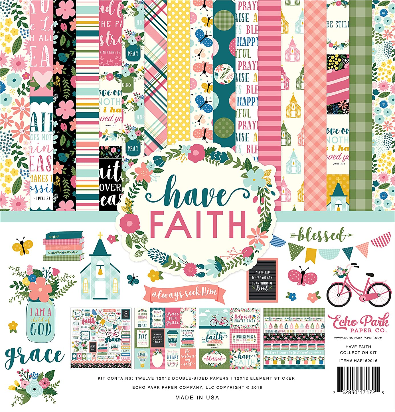 Echo Park Paper Company HAF152016 Have Have Faith Collection Kit, Purple, Pink, Mint Green, Teal, Coral ggsfvhblwik9