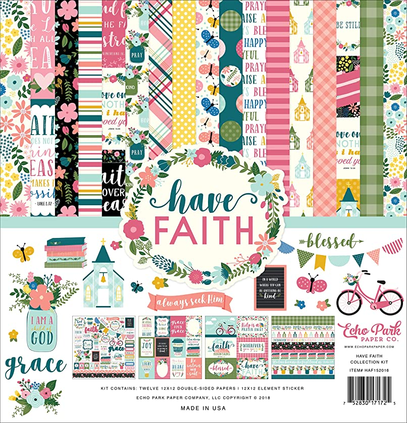 Echo Park Paper Company HAF152016 Have Have Faith Collection Kit, Purple, Pink, Mint Green, Teal, Coral