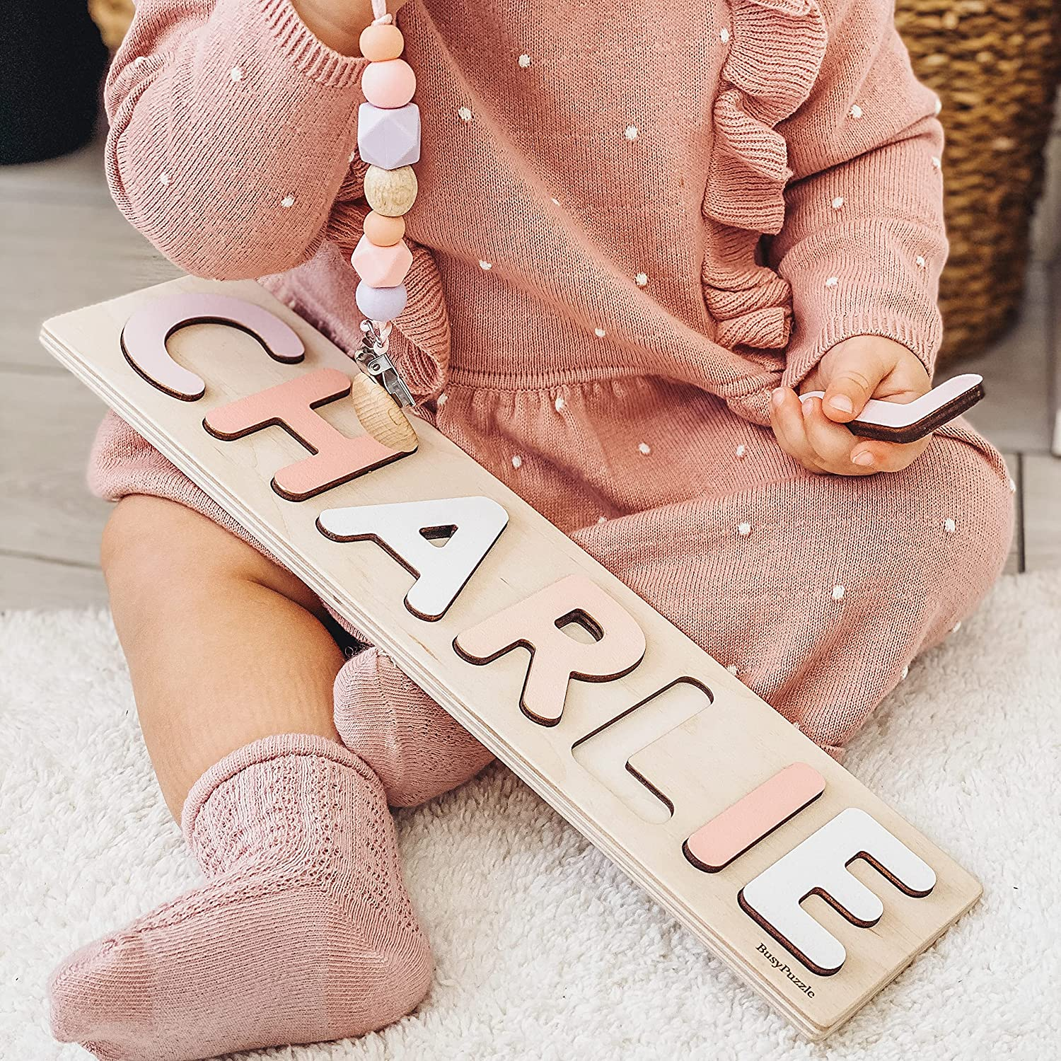 Name Quality inspection Puzzle With Pegs Personalized Toy Wooden Super-cheap