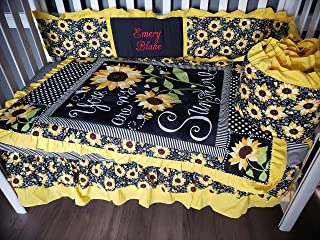 Sunflower You Are my Sunshine baby girl crib nursery bedding 1 to 4 pieces customized, personalized with embroidery Floral, bumble bees, Stripes, polka dots