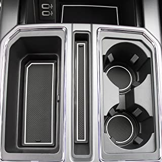 CupHolderHero for Ford F-150 2017-2020 Custom Fit Cup Holder, Door, and Center Console Liner Accessories 28-pc Set (F150 SuperCrew) (White Trim)