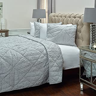 Rizzy Home Quilt, QLTBQ4199SVGY7086, Silver Grey, Twin