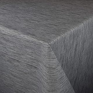 KEVKUS Nappe en toile cirée gaufrée au mètre P733-9 - Structure en lin gris au choix en carré, rond, ovale (bordure croche...