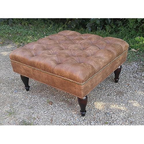 Peachy Square Leather Ottoman Amazon Com Frankydiablos Diy Chair Ideas Frankydiabloscom