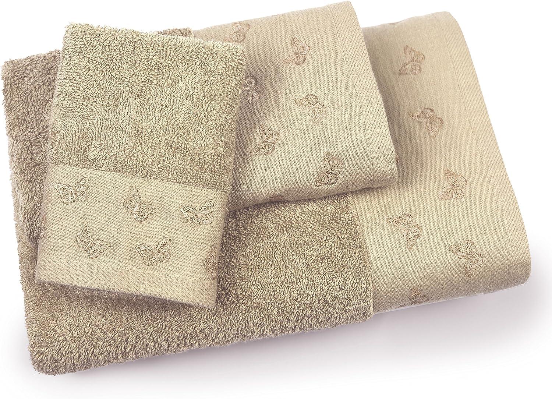 ADI American Dawn Butterfly 3 Piece Bath Towel Set, Sesame