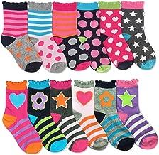 Jefferies Socks Girls Heart Flowers Stars Fashion Pattern Variety Socks 12 Pair Pack