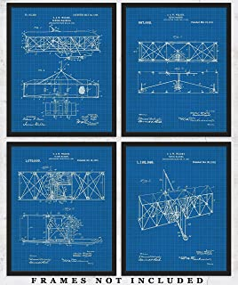 Original Wright Brothers Blueprint Art Prints – Set of 4 Unframed 8 x 10 Poster Photos. Unique Wall Art for Home, Room & Office Decor. Great Gifts for Men, Women Boys, Girls & Aircraft Fans!