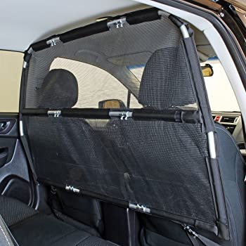 "Bushwhacker - Deluxe Dog Barrier 50"" Wide - Ideal for Smaller Cars, Trucks, and SUVs CUVs - Pet Restraint Car Backseat Divider Vehicle Gate Cargo Area Travel Trunk Mesh Net Screen Barricade"