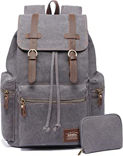 f2e514b129 KAUKKO Canvas Vintage Backpack Casual Daypack School Leather Rucksack  Laptop Bag