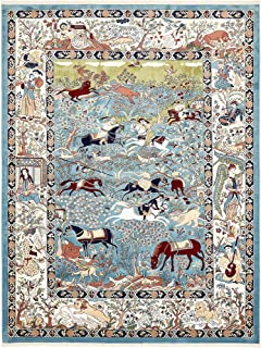 Unique Loom Narenj Collection Classic Traditional Hunting Scene Textured Blue Area Rug (10' 0 x 13' 0)