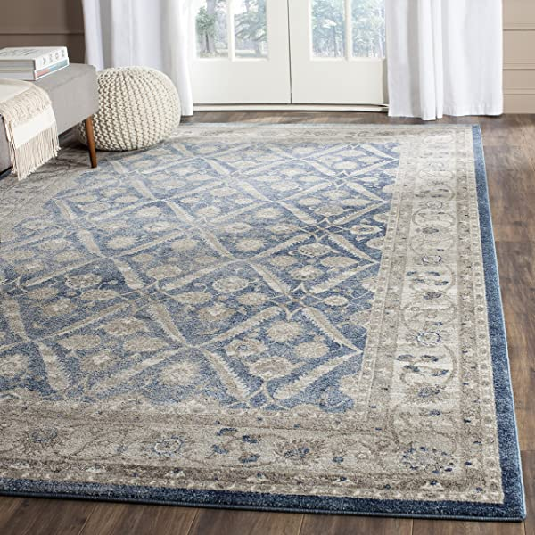 Safavieh Sofia Collection SOF378C Vintage Blue And Beige Distressed Area Rug 6 7 X 9 2
