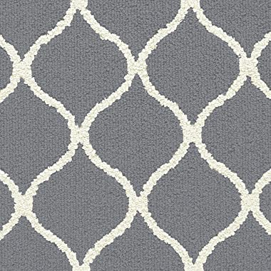 Maples Rugs Rebecca Contemporary Runner Rug Non Slip Hallway Entry Carpet [Made in USA], 2'6 x 10, Grey/White