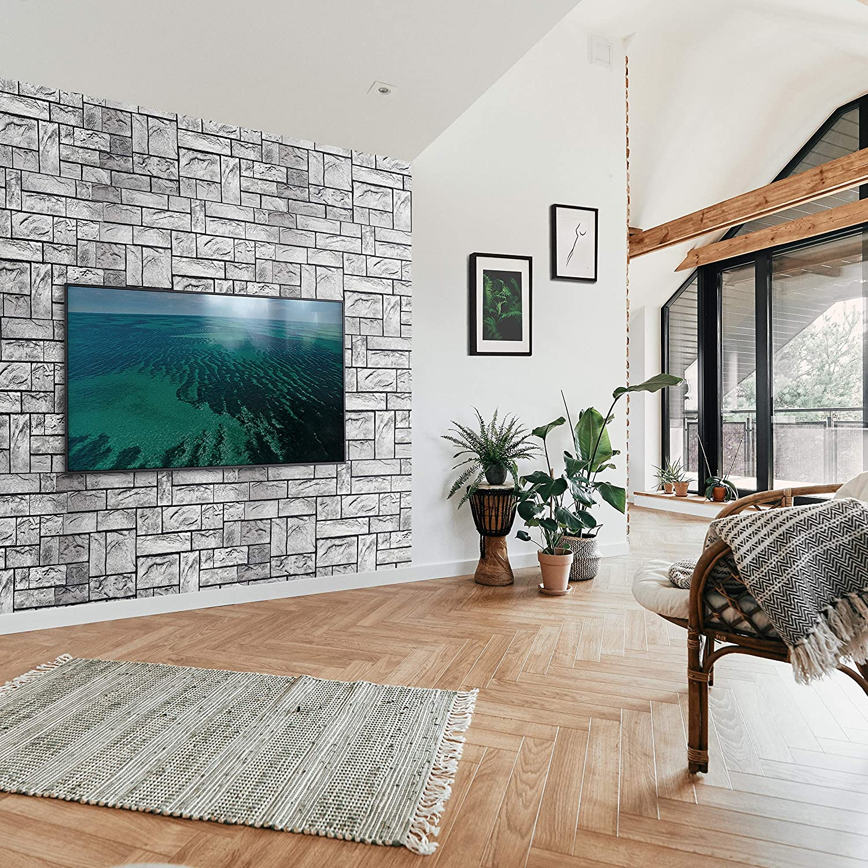 Lot de 10 panneaux muraux d/écoratifs 3D en plastique PVC effet brique Gris