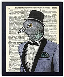 Gentleman Pigeon In Tuxedo Vintage Wall Art Upcycled Dictionary Art Print Poster 8x10 inches, Unframed