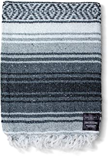 Mexican Blanket Authentic Falsa -Thick Soft Woven Acrylic Yoga Serape or as Beach Throw, Picnic, Camping, Travel, Hiking, Adventure, Pillow, Blankets in Pink, Mint, Sand, Gray, Sky Blue