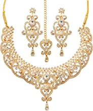 Touchstone Indian Bollywood Royal Look Marvelous Designer Jewelry Necklace Set Embellished for Women.